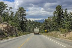 RV in the mountains of Colorado stock image