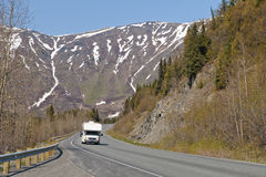 RV On Alaskan Road Royalty Free Stock Photography