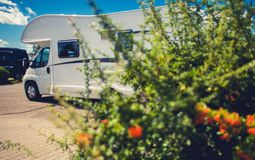 RV Park Camper Spot. Travel in a Motorhome stock photography