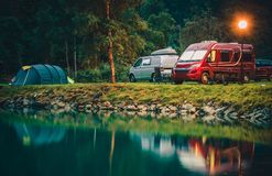 RV Park Camping in Norway. Waterfront Campsites with Camper Vans and Tents stock image