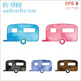 Rv park watercolor symbol. Admirable hand drawn style symbol. Alive rv park watercolor icon. Modern design for infographics or presentation royalty free illustration