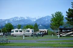 RV parkerar i Montana Arkivfoton