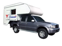 Rv pickup truck. With camping trailer isolated stock photography