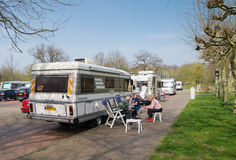 Rv at picnic area Royalty Free Stock Photography