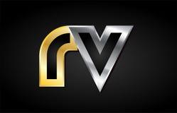 Gold silver letter joint logo icon alphabet design Stock Photo