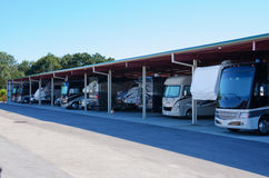 RV recreational vehicle storage parking covered garage Royalty Free Stock Photos