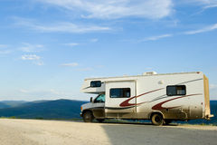 RV on the road royalty free stock photography