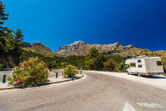 RV on a road of Mallorca, Royalty Free Stock Photo