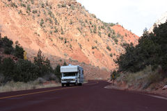 RV on the road in Zion. National Park, Utah Royalty Free Stock Photography