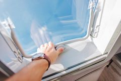 RV Roof Vent Air Circulation. RV Roof Vent and the Air Circulation Inside Camper Van While Traveling. Concept Photo Royalty Free Stock Images