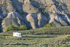 RV at secluded location. The family travelling in this motorhome reported that this lsite in Teton National Forest was one of their favorite secluded, dispersed Royalty Free Stock Photos