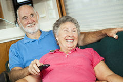 RV Seniors Amused by Television Royalty Free Stock Photos