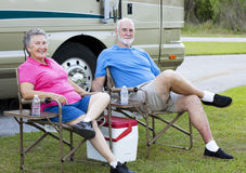 RV Seniors Relaxing Outdoors Stock Images