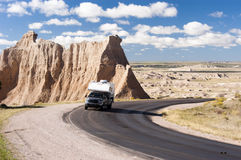 RV travel. In Badlands National Park in South Dakota Stock Image