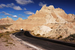 RV Travel 4. Vacationing in a recreational vehicle in the Badlands National Park Stock Image