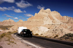 RV Travel 5. Vacationing in a recreational vehicle in the Badlands National Park Stock Photos