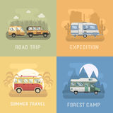 RV Travel Concept Landscapes in Flat Design Stock Images