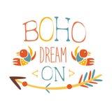 Rêve sur l'élément ethnique de style de Boho de slogan, calibre de conception de mode de hippie dans la couleur bleue, jaune et r Photo stock