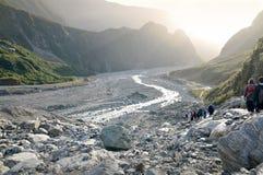 Rävglaciär som trekking, Nya Zeeland Fotografering för Bildbyråer