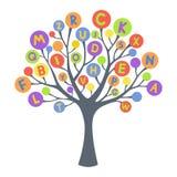 Árvore abstrata com letras coloridas Fotos de Stock