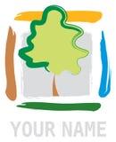 Árvore abstrata no elemento quadrado Imagens de Stock