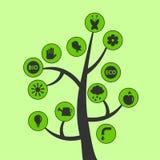 Árvore com ícones ecológicos Foto de Stock Royalty Free