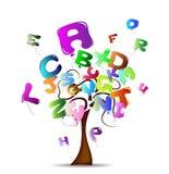 Árvore com os balões brilhantes na forma das letras Foto de Stock