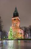 ?rvore da catedral e de Natal de Turku Imagens de Stock Royalty Free