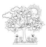 A árvore da mola, pássaros constrói os ninhos, sinais sazonais da mola Fotografia de Stock Royalty Free