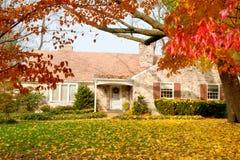 Árvore das folhas de outono da queda do amarelo de Philadelphfia da casa Imagem de Stock Royalty Free