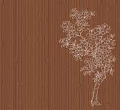 Árvore de cereja na madeira Fotografia de Stock Royalty Free