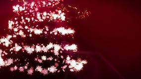 ?rvore de Natal de brilho no fundo vermelho Cor m?gica da ?rvore Ilumina??o do inverno do Natal Anima??o do la?o ilustração do vetor