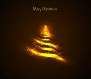 ?rvore de Natal clara dourada Fotografia de Stock Royalty Free