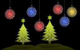 ?rvore de Natal colorida com bola do Natal Imagens de Stock