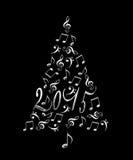 árvore 2015 de Natal com notas musicais Fotografia de Stock Royalty Free
