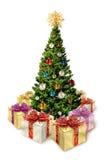 Árvore de Natal com presentes Imagens de Stock