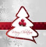 Árvore de Natal dos desenhos animados no cartão de prata. Vetor Imagem de Stock Royalty Free