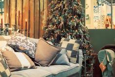 ?rvore de Natal em casa Foto de Stock