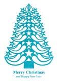 Árvore de Natal feita do papel da grama - luz - azul Imagem de Stock Royalty Free