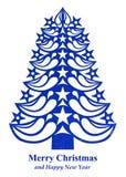 Árvore de Natal feita do papel da grama - obscuridade - azul Fotografia de Stock