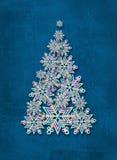 Árvore de Natal feita dos flocos de neve Fundo abstrato do inverno Imagens de Stock