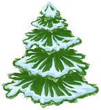 Árvore de Natal na neve Árvore de abeto do inverno Árvore de pinho verde Foto de Stock Royalty Free