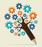 Árvore do lápis do conceito da roda de engrenagem Foto de Stock Royalty Free