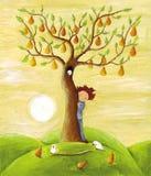 Árvore do menino e de pera Imagem de Stock
