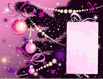 Árvore e cartão de Natal Imagens de Stock Royalty Free