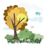 Árvore e prado da natureza com os animais no vetor da ilustração da floresta Foto de Stock Royalty Free