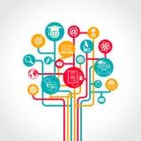 Árvore em linha da educação Fotos de Stock