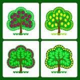 Árvores de fruto estilizados Imagens de Stock