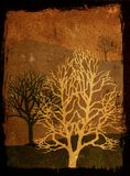 Árvores de Grunge - sepia Imagem de Stock