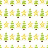 ?rvores e estrelas verdes sem emenda Imagens de Stock Royalty Free
